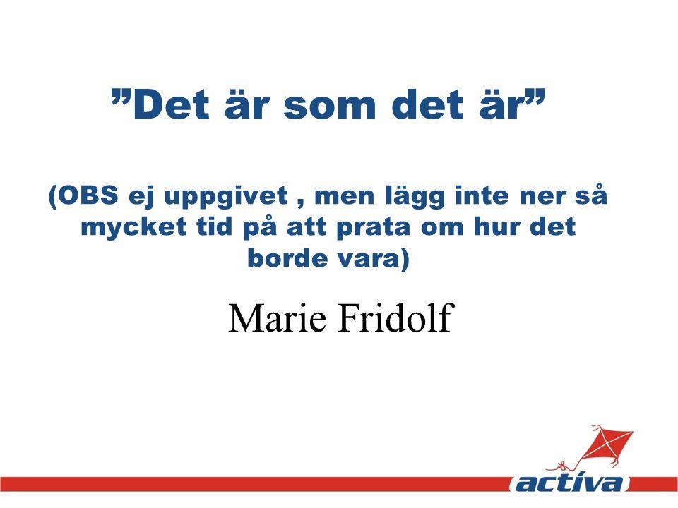 """""""Det är som det är"""" (OBS ej uppgivet, men lägg inte ner så mycket tid på att prata om hur det borde vara) Marie Fridolf"""