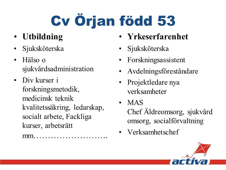 Cv Örjan född 53 Utbildning Sjuksköterska Hälso o sjukvårdsadministration Div kurser i forskningsmetodik, medicinsk teknik kvalitetssäkring, ledarskap