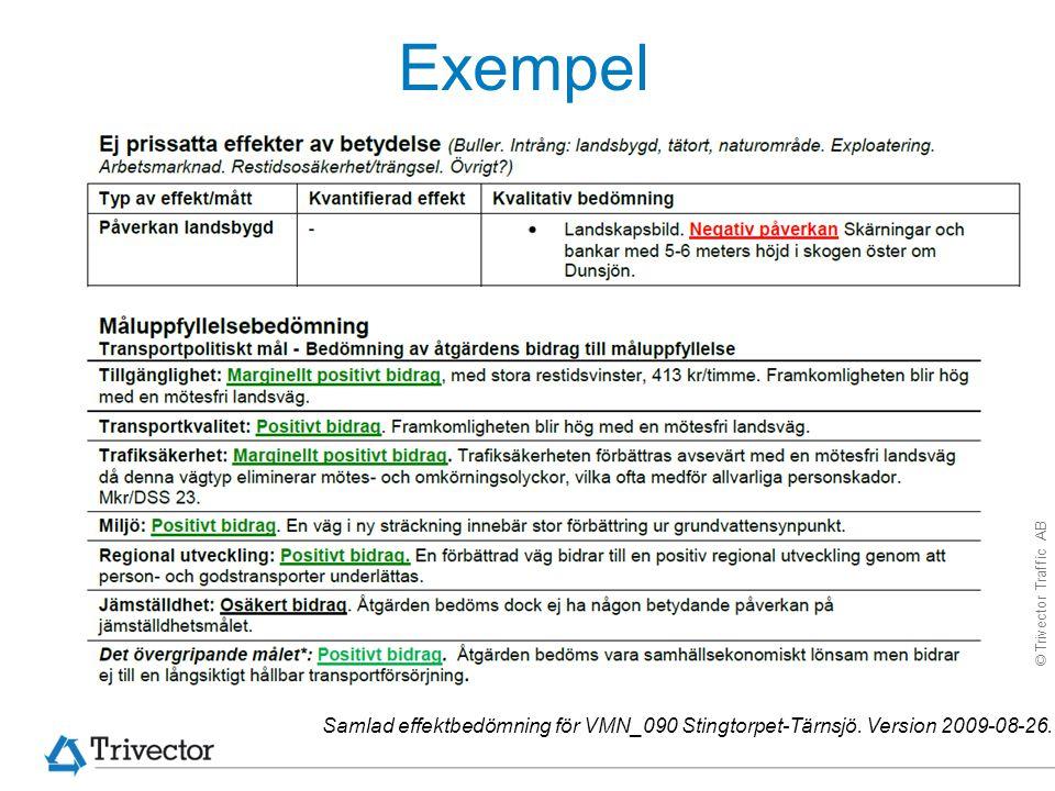 © Trivector Traffic AB Exempel Samlad effektbedömning för VMN_090 Stingtorpet-Tärnsjö. Version 2009-08-26.
