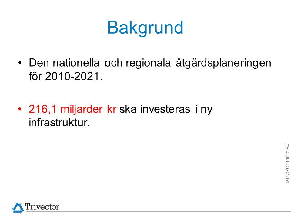 © Trivector Traffic AB Bakgrund Den nationella och regionala åtgärdsplaneringen för 2010-2021. 216,1 miljarder kr ska investeras i ny infrastruktur.