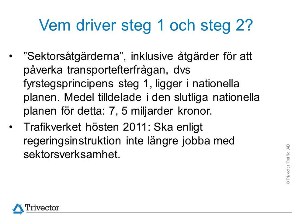 """© Trivector Traffic AB Vem driver steg 1 och steg 2? """"Sektorsåtgärderna"""", inklusive åtgärder för att påverka transportefterfrågan, dvs fyrstegsprincip"""