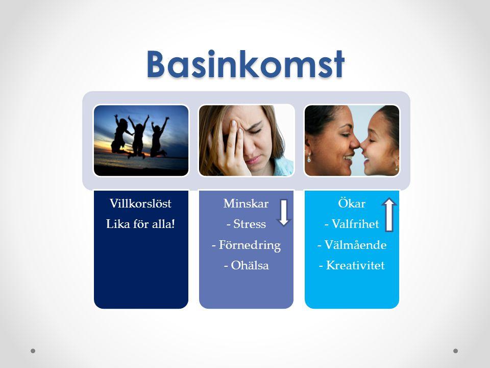 Basinkomst Villkorslöst Lika för alla! Minskar - Stress - Förnedring - Ohälsa Ökar - Valfrihet - Välmående - Kreativitet