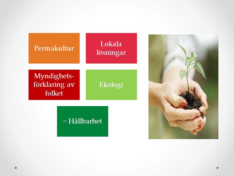 Permakultur Lokala lösningar Myndighets- förklaring av folket Ekologi = Hållbarhet