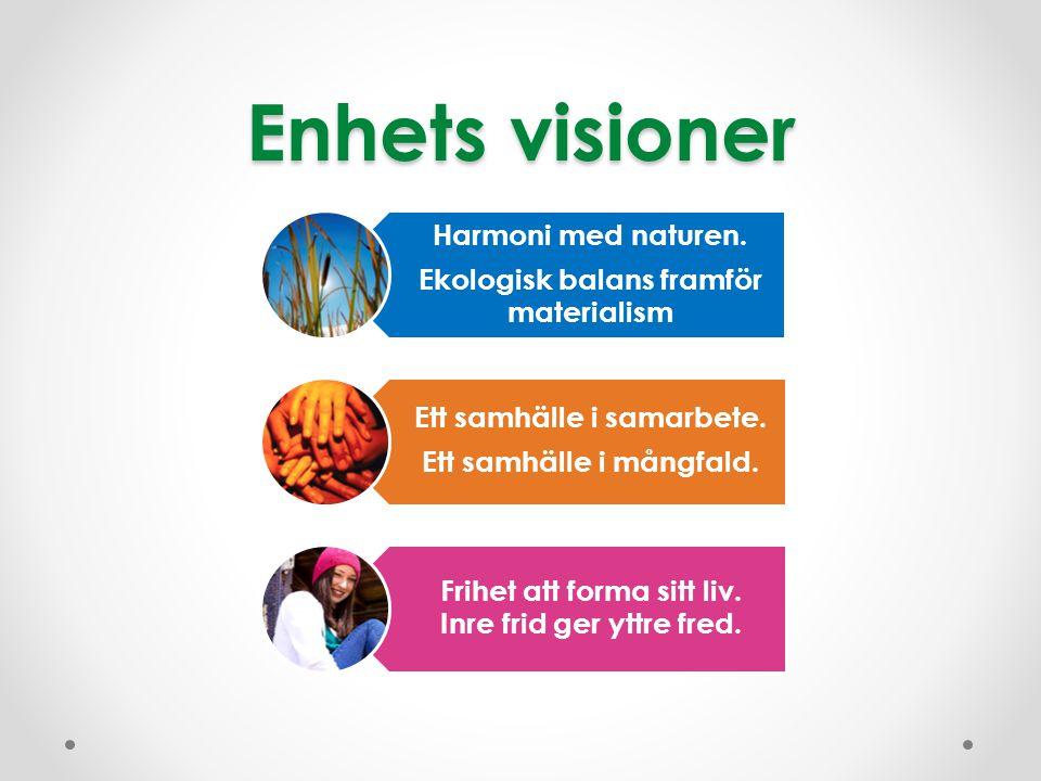 Enhets visioner Harmoni med naturen. Ekologisk balans framför materialism Ett samhälle i samarbete. Ett samhälle i mångfald. Frihet att forma sitt liv