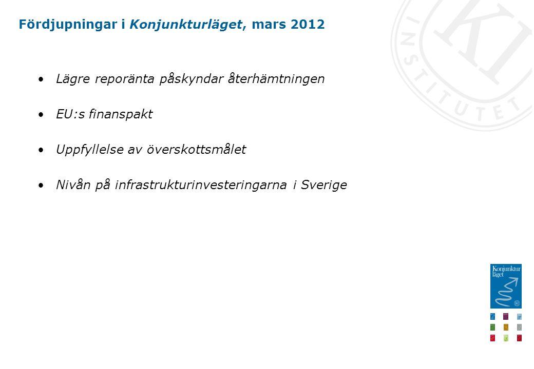 Fördjupningar i Konjunkturläget, mars 2012 Lägre reporänta påskyndar återhämtningen EU:s finanspakt Uppfyllelse av överskottsmålet Nivån på infrastrukturinvesteringarna i Sverige