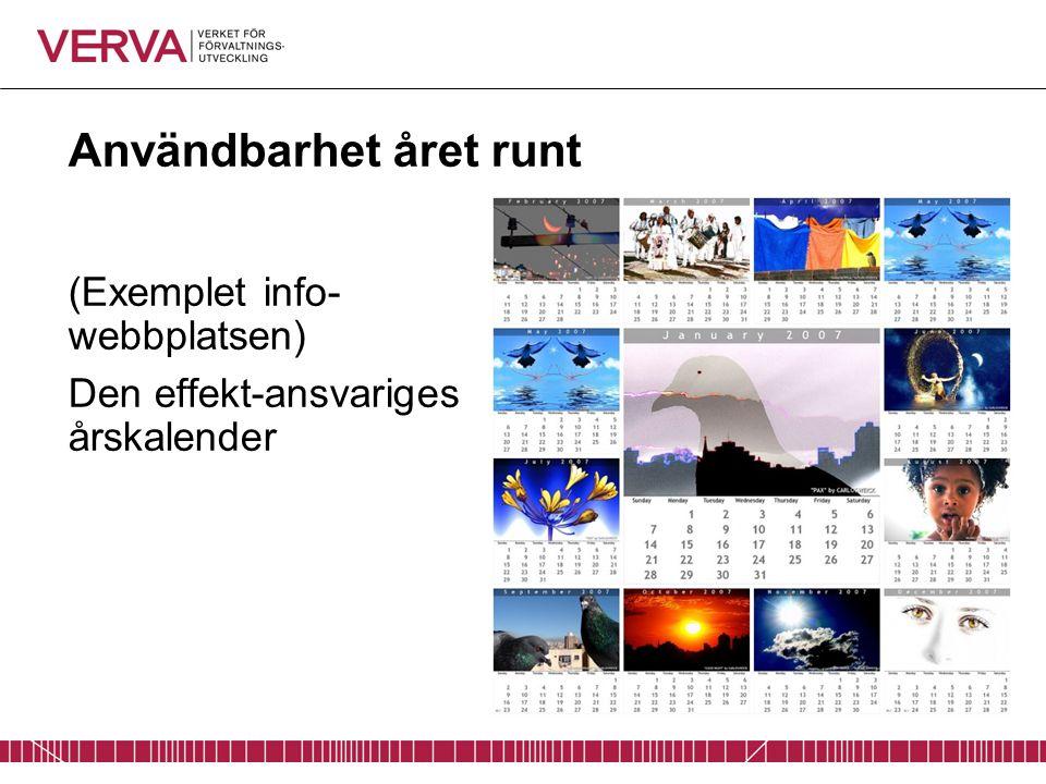 Användbarhet året runt (Exemplet info- webbplatsen) Den effekt-ansvariges årskalender