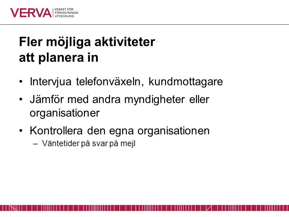 Fler möjliga aktiviteter att planera in Intervjua telefonväxeln, kundmottagare Jämför med andra myndigheter eller organisationer Kontrollera den egna