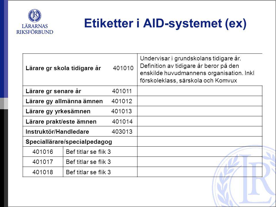 Etiketter i AID-systemet (ex) Lärare gr skola tidigare år 401010 Undervisar i grundskolans tidigare år. Definition av tidigare år beror på den enskild