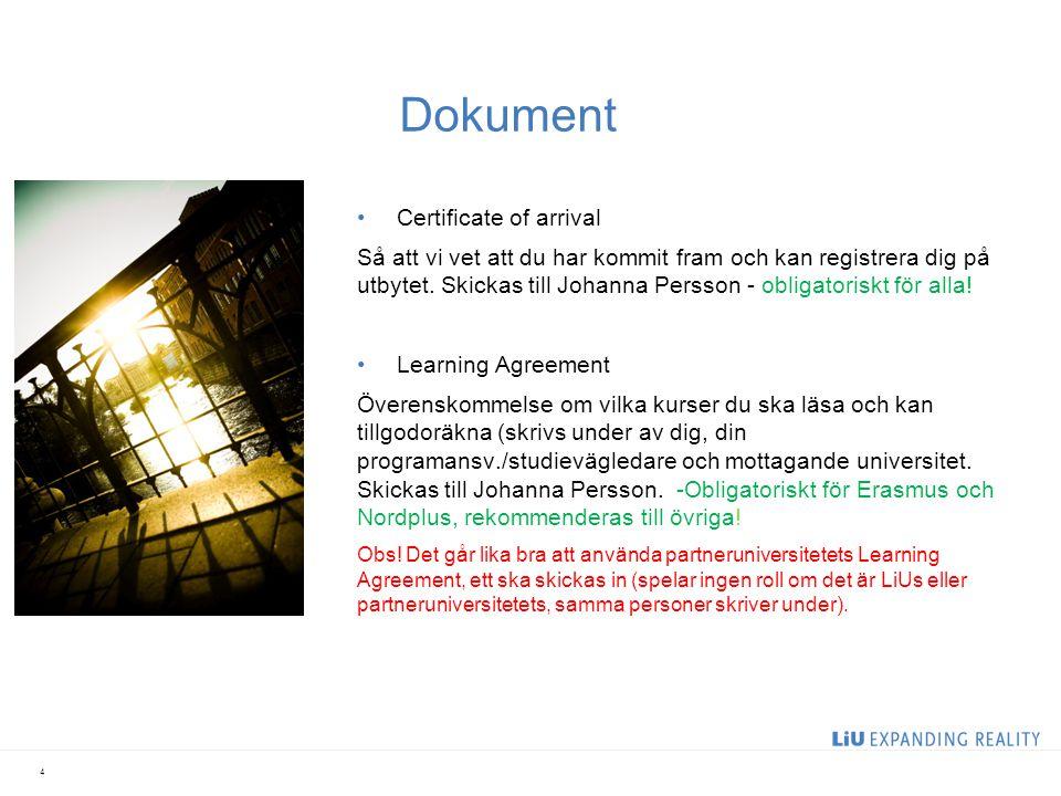 5 Dokument 2 särskilda dokument för Erasmusstudenter.