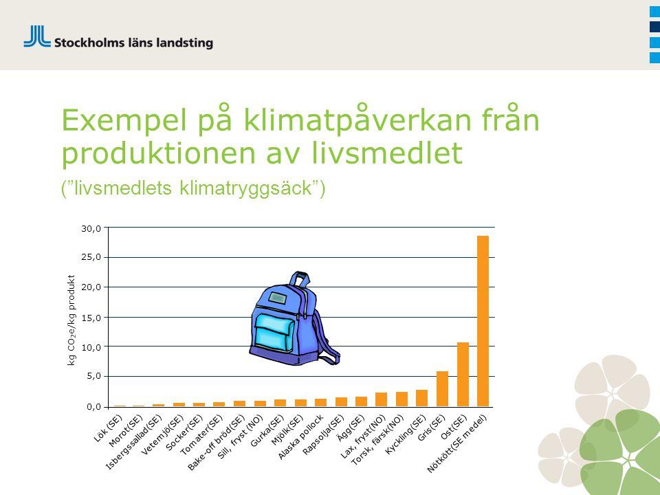 """Exempel på klimatpåverkan från produktionen av livsmedlet (""""livsmedlets klimatryggsäck"""") 30,0 25,0 20,0 15,0 10,0 5,0 0,0 Lök (SE)Morot(SE)Isbergssall"""