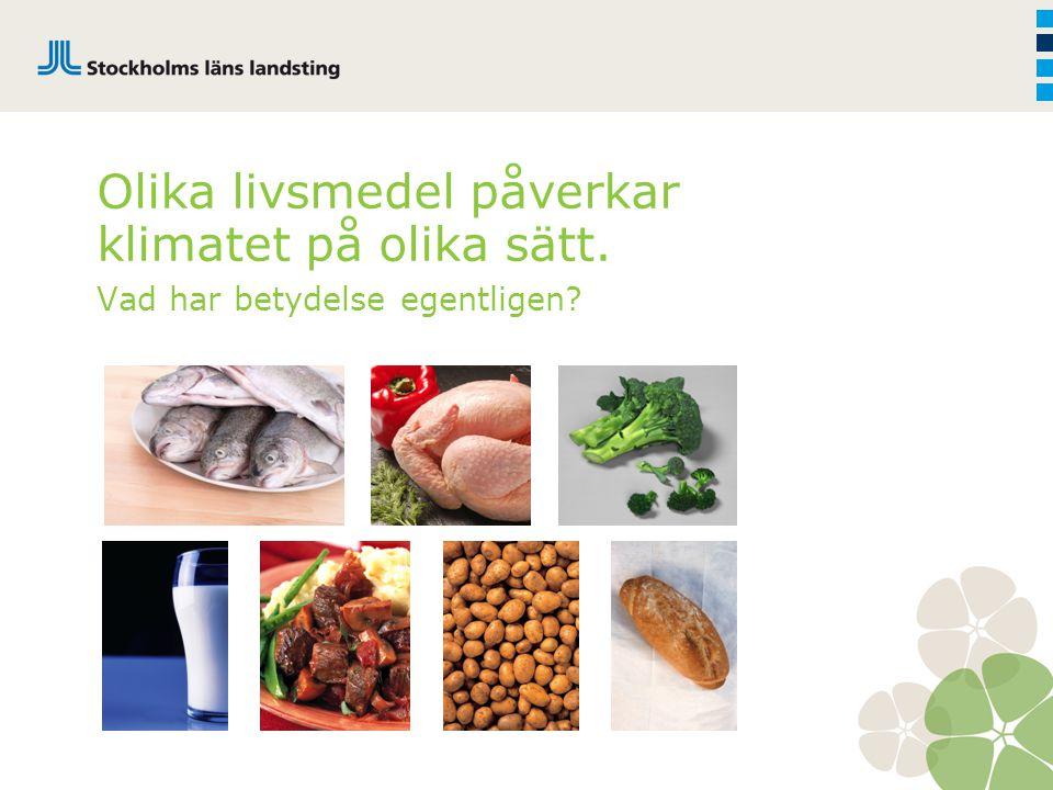 Klimatpåverkan av trädgårdsprodukter 1,2 1 0,8 0,6 0,4 0,2 0,0 Morot mineraljord(SE)Lök(SE) Morot, medel(SE)Vitkål(SE)Kålrot(SE)Purjolök(SE)Palsternacka(SE)Rotselleri (SE)Isbergssallad(SE)Blomkål(SE)Morot, mulljord (SE)Broccoli(SE) kg CO 2 ekv./kg grönsaker vid butik Tomat(SE)Gurka(SE)