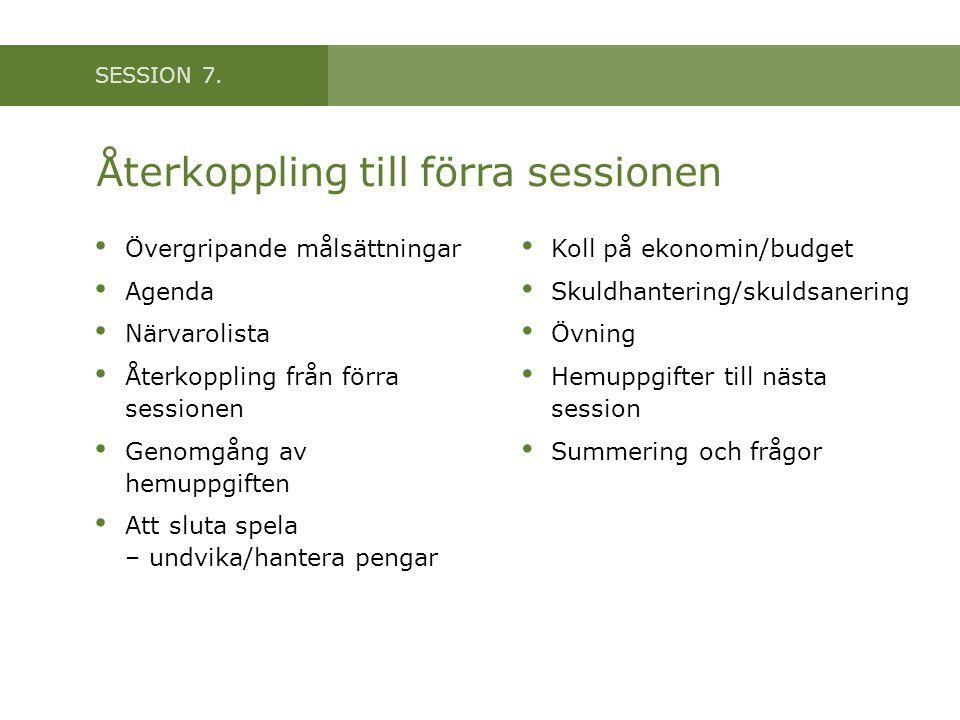 SESSION 7. Återkoppling till förra sessionen Övergripande målsättningar Agenda Närvarolista Återkoppling från förra sessionen Genomgång av hemuppgifte