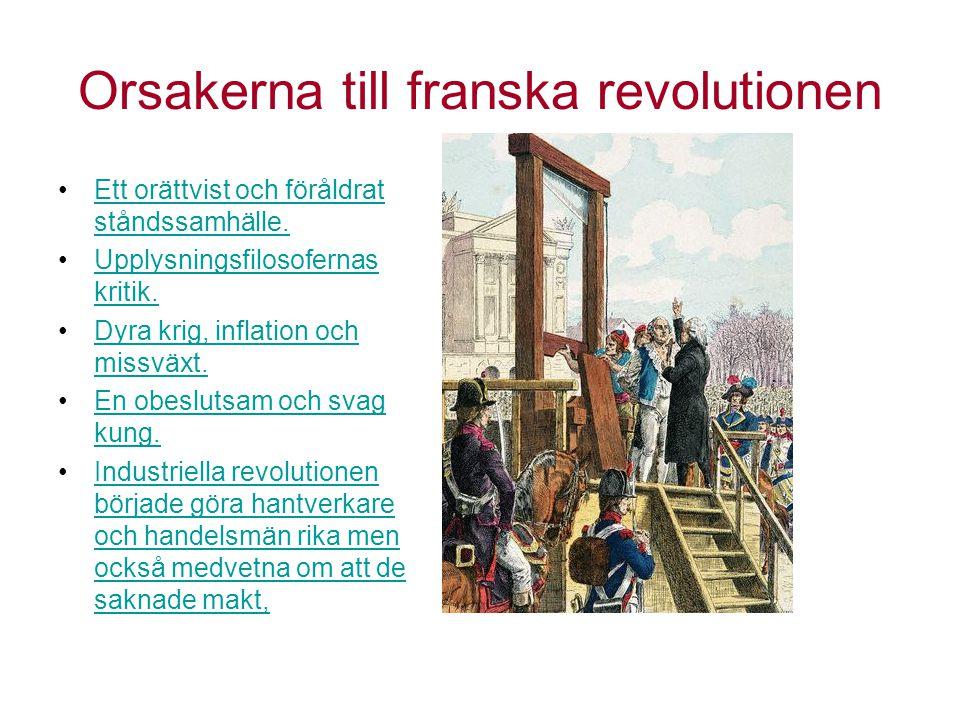 Orsakerna till franska revolutionen Ett orättvist och föråldrat ståndssamhälle.Ett orättvist och föråldrat ståndssamhälle. Upplysningsfilosofernas kri