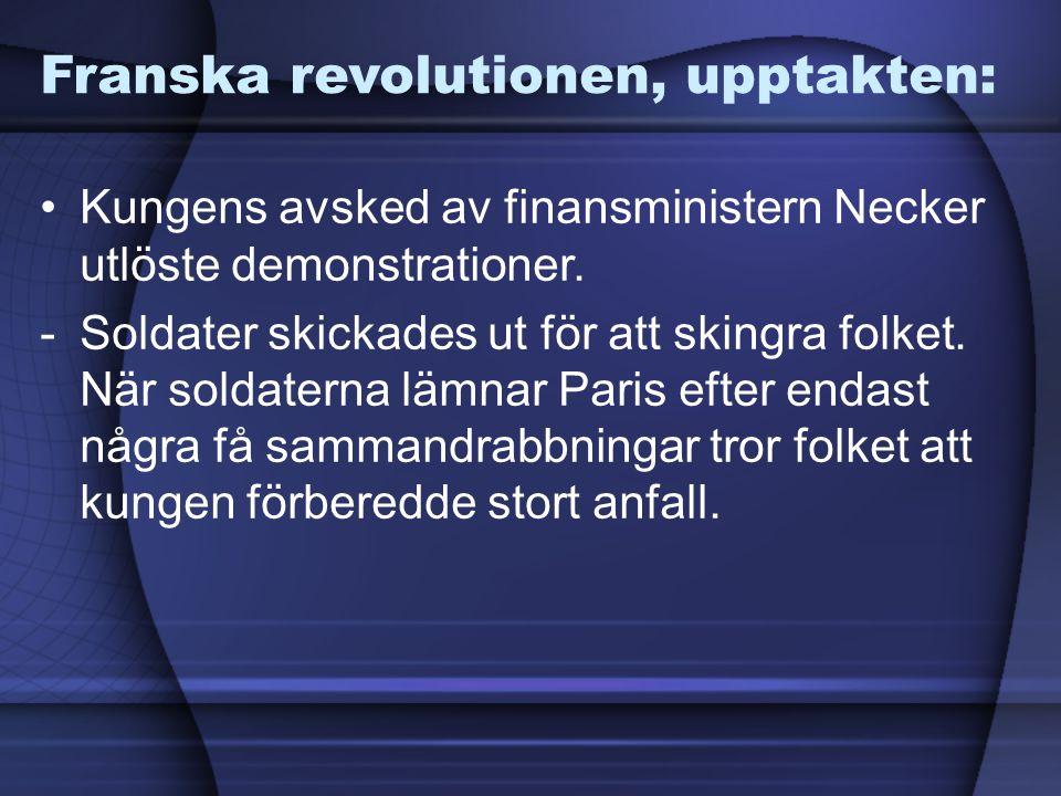 Franska revolutionen, upptakten: Kungens avsked av finansministern Necker utlöste demonstrationer. -Soldater skickades ut för att skingra folket. När