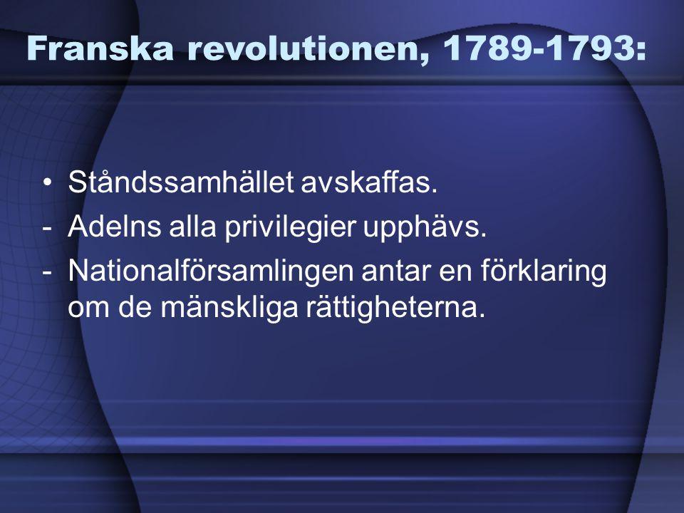 Franska revolutionen, 1789-1793: Ståndssamhället avskaffas. -Adelns alla privilegier upphävs. -Nationalförsamlingen antar en förklaring om de mänsklig