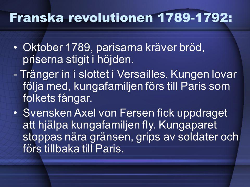 Franska revolutionen 1789-1792: Oktober 1789, parisarna kräver bröd, priserna stigit i höjden. - Tränger in i slottet i Versailles. Kungen lovar följa