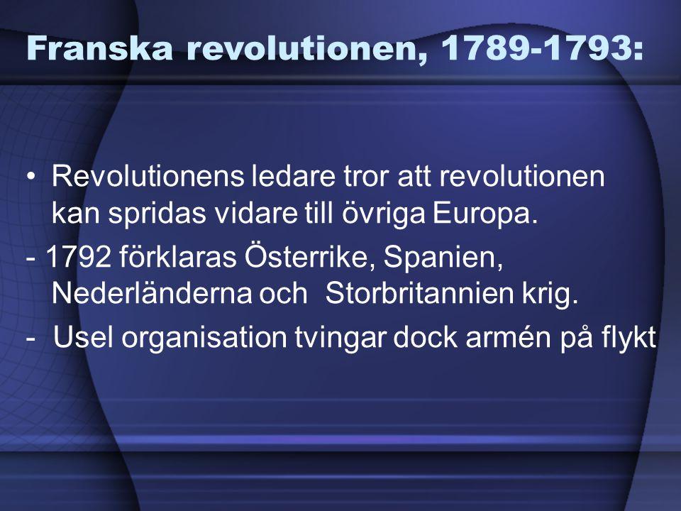 Franska revolutionen, 1789-1793: Revolutionens ledare tror att revolutionen kan spridas vidare till övriga Europa. - 1792 förklaras Österrike, Spanien