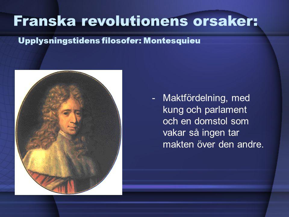 Franska revolutionens orsaker: Upplysningstidens filosofer: Montesquieu -Maktfördelning, med kung och parlament och en domstol som vakar så ingen tar