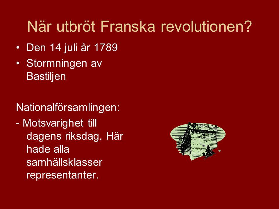 STORMNINGEN AV BASTILJEN Den 14 juli 1789 startade revolutionen då Bastiljen stormades.