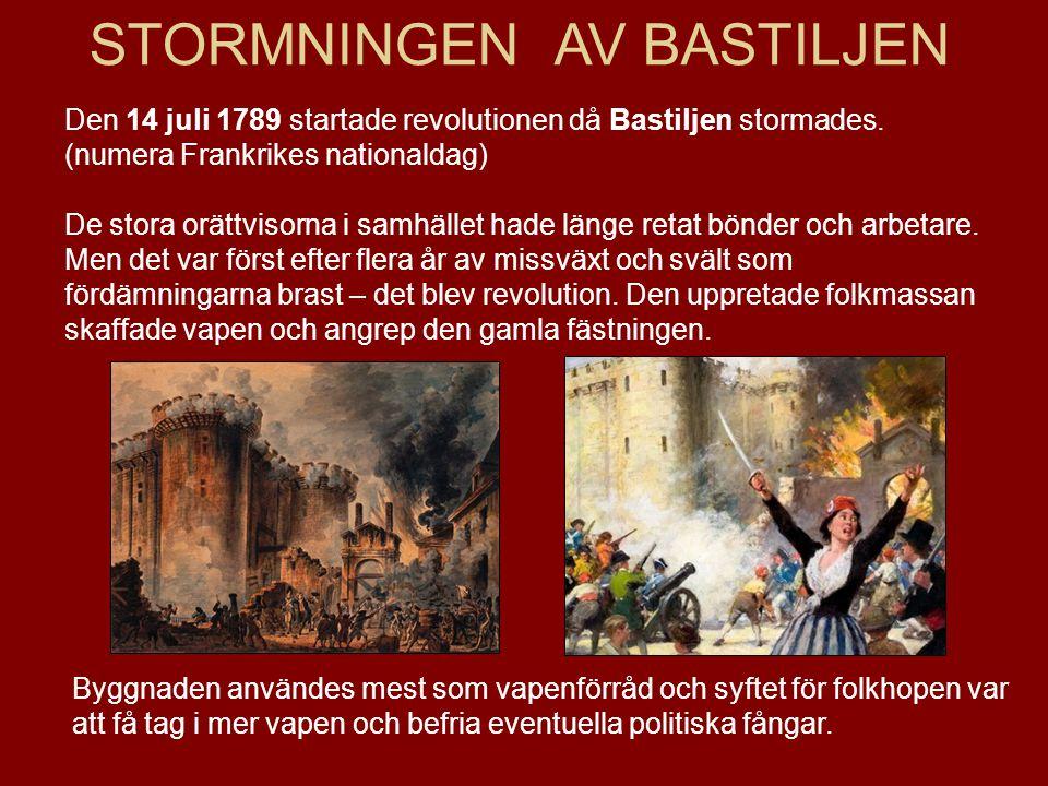 STORMNINGEN AV BASTILJEN Den 14 juli 1789 startade revolutionen då Bastiljen stormades. (numera Frankrikes nationaldag) De stora orättvisorna i samhäl