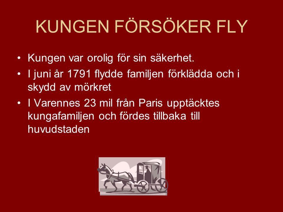 KUNGEN FÖRSÖKER FLY Kungen var orolig för sin säkerhet. I juni år 1791 flydde familjen förklädda och i skydd av mörkret I Varennes 23 mil från Paris u