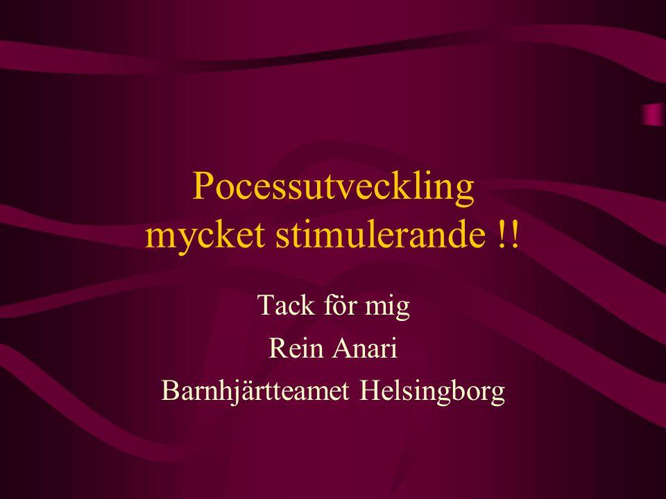 Pocessutveckling mycket stimulerande !! Tack för mig Rein Anari Barnhjärtteamet Helsingborg
