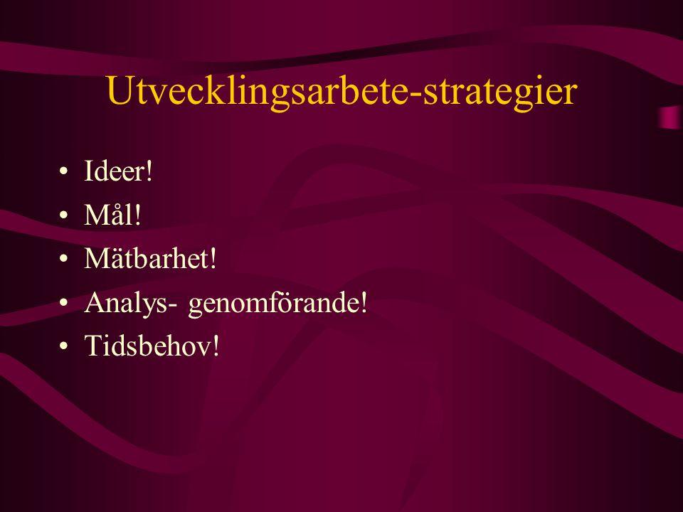 Utvecklingsarbete-strategier Ideer! Mål! Mätbarhet! Analys- genomförande! Tidsbehov!