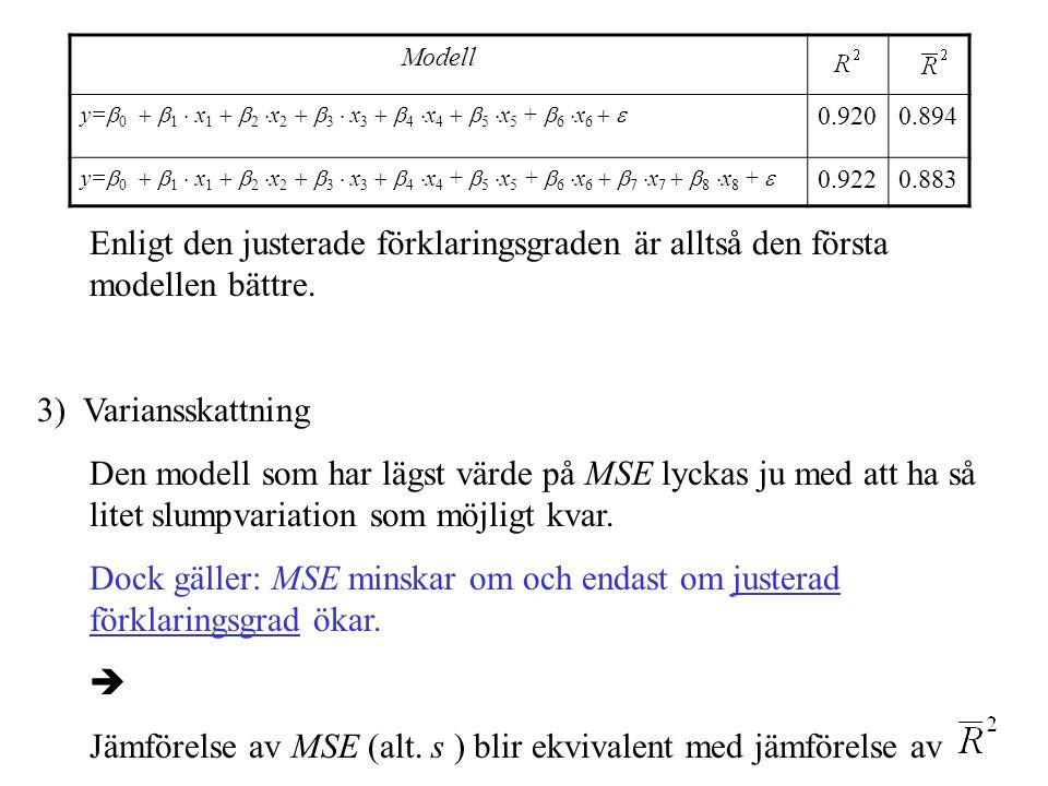 Enligt den justerade förklaringsgraden är alltså den första modellen bättre. 3) Variansskattning Den modell som har lägst värde på MSE lyckas ju med a