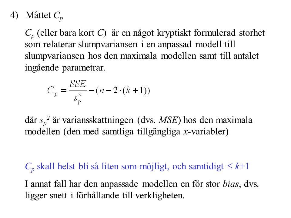 4) Måttet C p C p (eller bara kort C) är en något kryptiskt formulerad storhet som relaterar slumpvariansen i en anpassad modell till slumpvariansen h