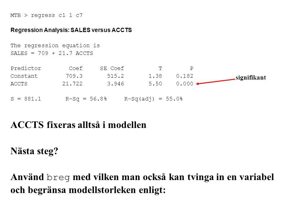 MTB > regress c1 1 c7 Regression Analysis: SALES versus ACCTS The regression equation is SALES = 709 + 21.7 ACCTS Predictor Coef SE Coef T P Constant