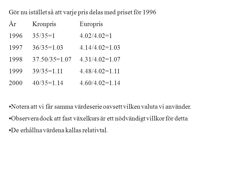 Gör nu istället så att varje pris delas med priset för 1996 År KronprisEuropris 199635/35=14.02/4.02=1 199736/35=1.034.14/4.02=1.03 199837.50/35=1.074