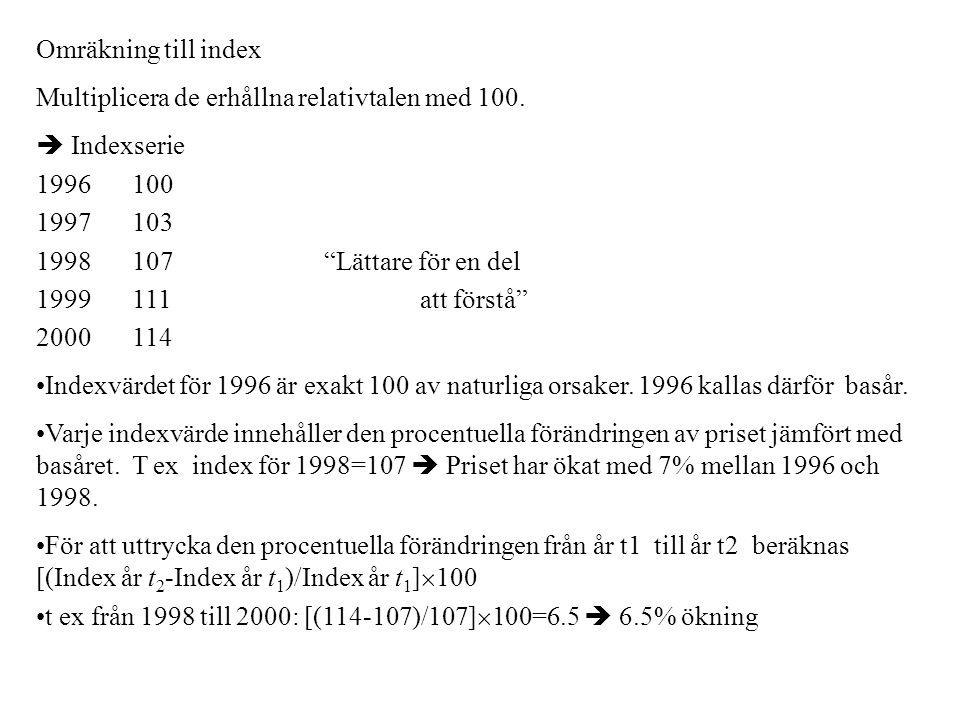 """Omräkning till index Multiplicera de erhållna relativtalen med 100.  Indexserie 1996100 1997103 1998107""""Lättare för en del 1999111att förstå"""" 2000114"""