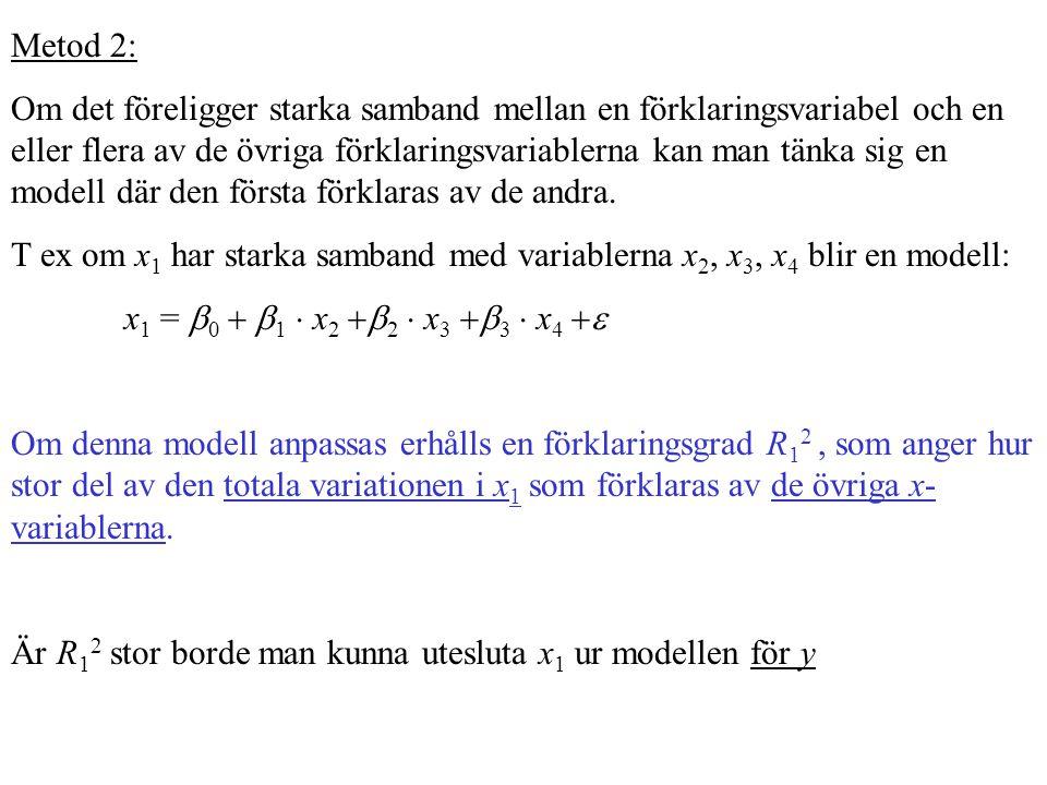 Metod 2: Om det föreligger starka samband mellan en förklaringsvariabel och en eller flera av de övriga förklaringsvariablerna kan man tänka sig en mo