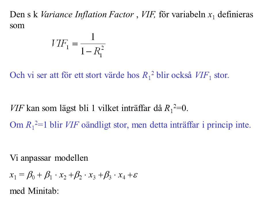 Den s k Variance Inflation Factor, VIF, för variabeln x 1 definieras som Och vi ser att för ett stort värde hos R 1 2 blir också VIF 1 stor. VIF kan s