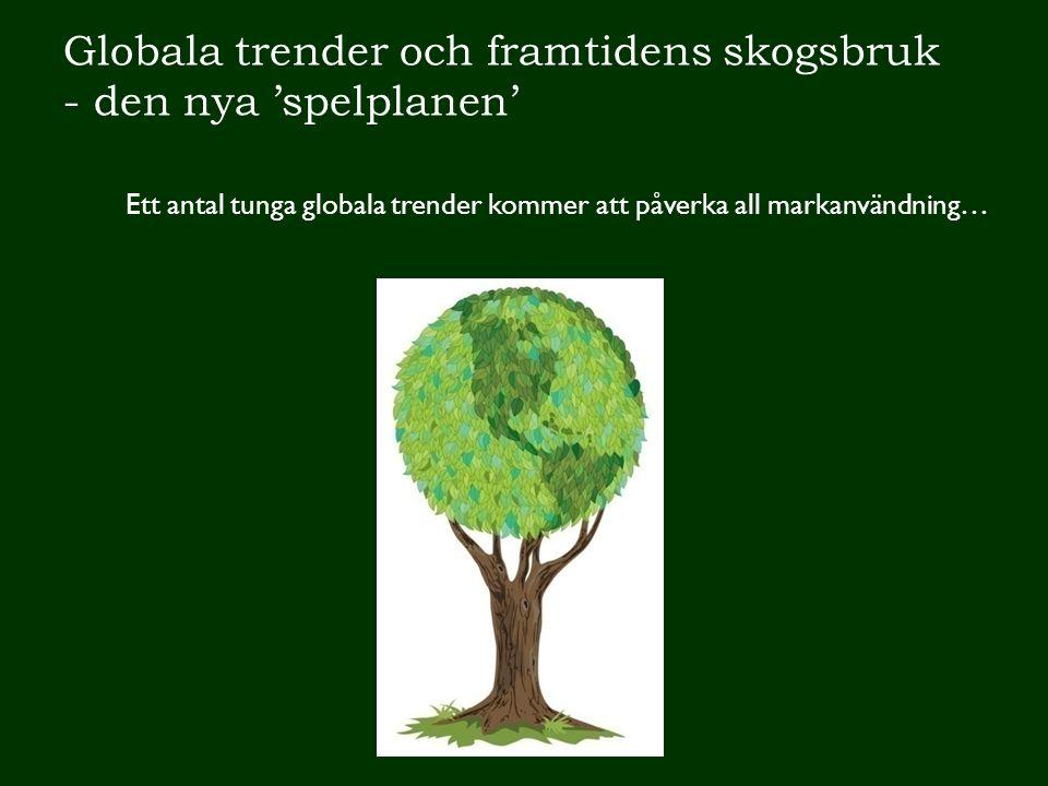 Globala trender och framtidens skogsbruk - den nya 'spelplanen' Ett antal tunga globala trender kommer att påverka all markanvändning…