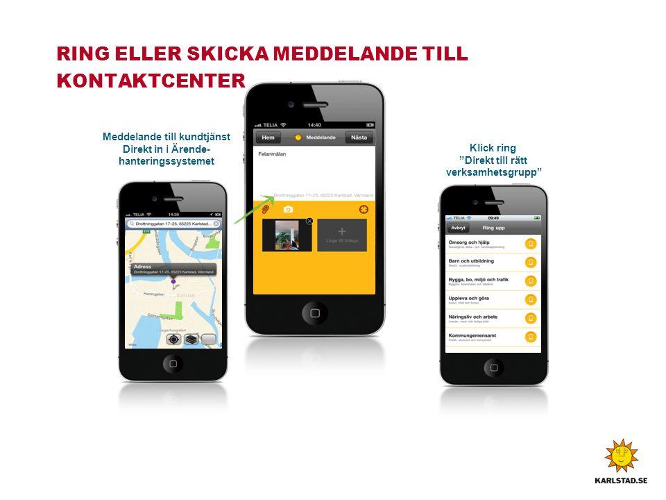 """RING ELLER SKICKA MEDDELANDE TILL KONTAKTCENTER Klick ring """"Direkt till rätt verksamhetsgrupp"""" Meddelande till kundtjänst Direkt in i Ärende- hanterin"""