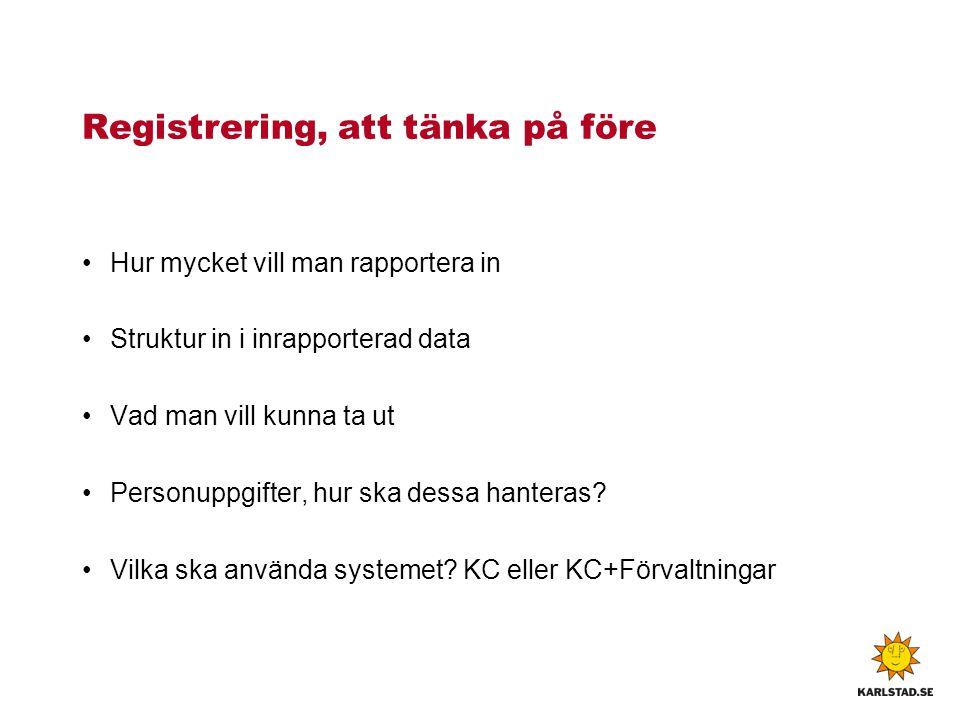 Registrering, att tänka på före Hur mycket vill man rapportera in Struktur in i inrapporterad data Vad man vill kunna ta ut Personuppgifter, hur ska d
