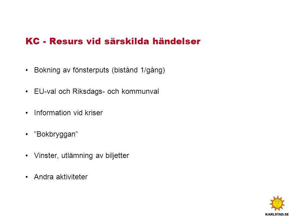 """KC - Resurs vid särskilda händelser Bokning av fönsterputs (bistånd 1/gång) EU-val och Riksdags- och kommunval Information vid kriser """"Bokbryggan"""" Vin"""