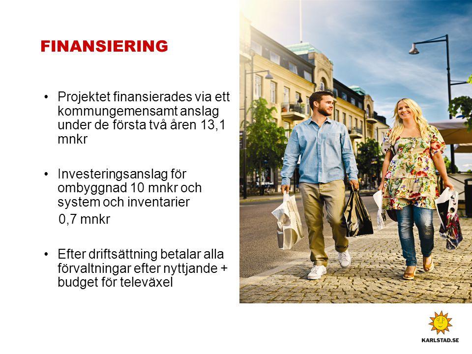 FINANSIERING Projektet finansierades via ett kommungemensamt anslag under de första två åren 13,1 mnkr Investeringsanslag för ombyggnad 10 mnkr och sy
