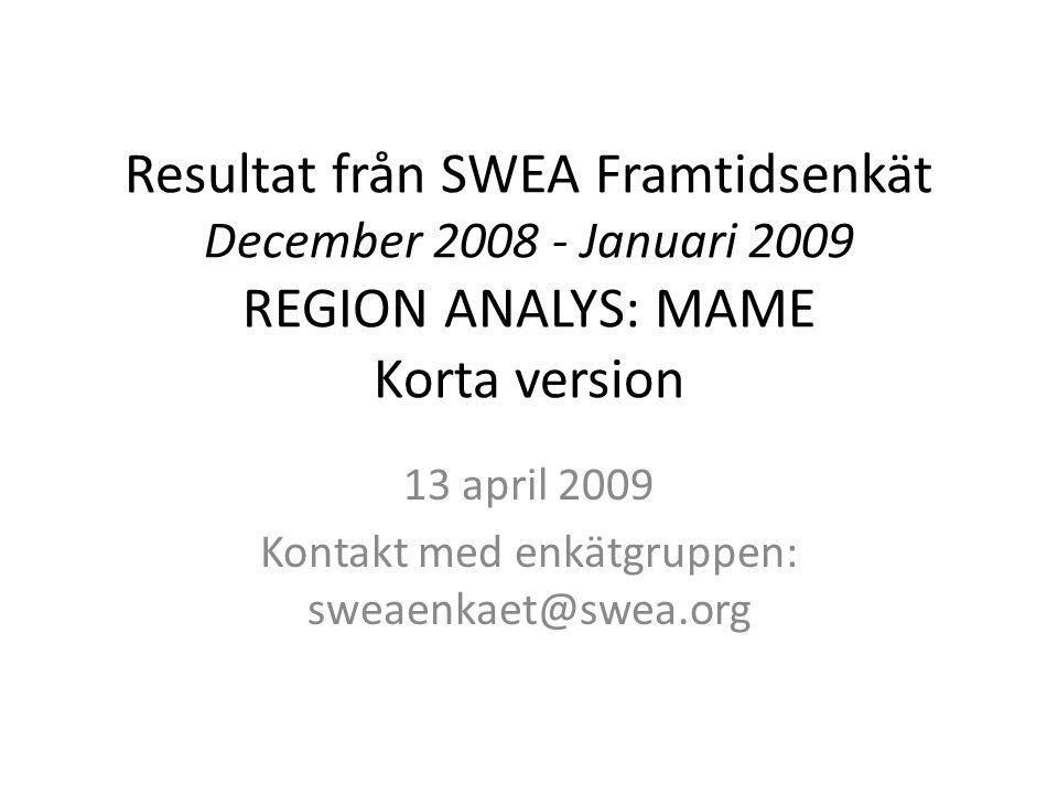 Resultat från SWEA Framtidsenkät December 2008 - Januari 2009 REGION ANALYS: MAME Korta version 13 april 2009 Kontakt med enkätgruppen: sweaenkaet@swea.org