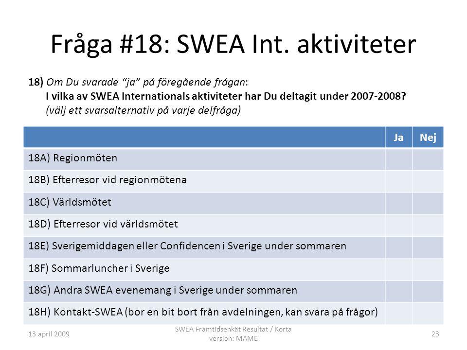 Fråga #18: SWEA Int.