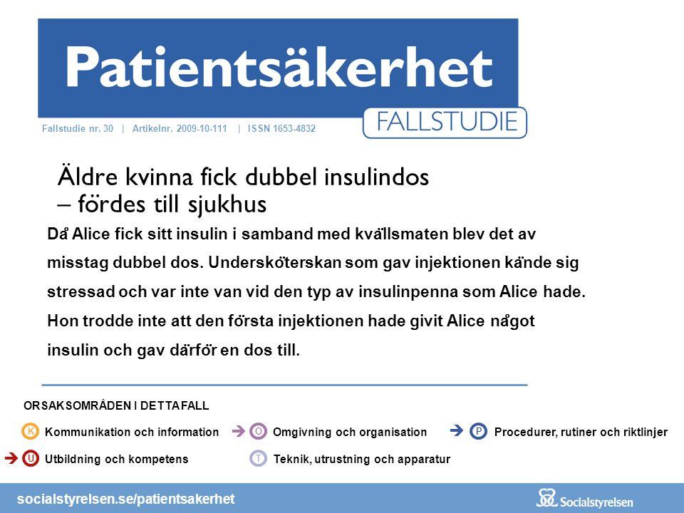 socialstyrelsen.se/patientsakerhet Da ̊ Alice fick sitt insulin i samband med kva ̈ llsmaten blev det av misstag dubbel dos.