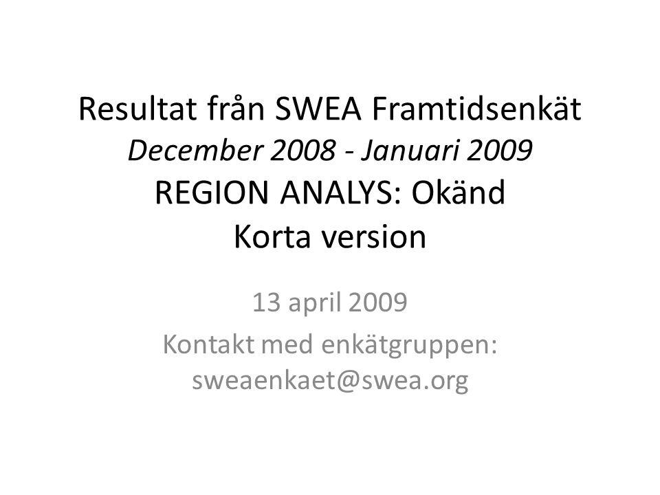 Resultat från SWEA Framtidsenkät December 2008 - Januari 2009 REGION ANALYS: Okänd Korta version 13 april 2009 Kontakt med enkätgruppen: sweaenkaet@swea.org