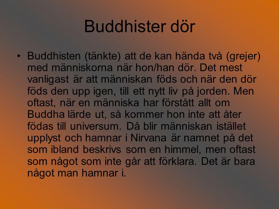 Buddhister dör Buddhisten (tänkte) att de kan hända två (grejer) med människorna när hon/han dör.