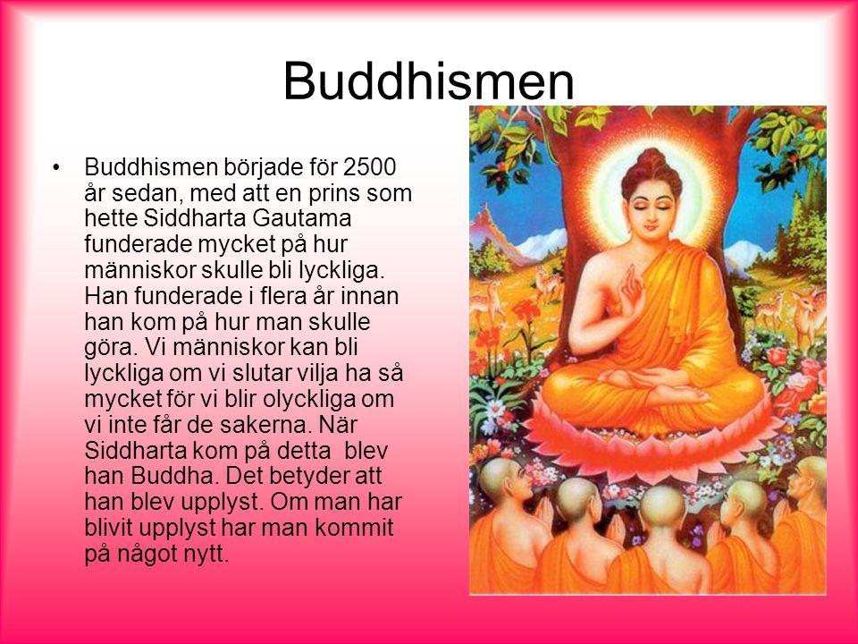 Buddhismen Buddhismen började för 2500 år sedan, med att en prins som hette Siddharta Gautama funderade mycket på hur människor skulle bli lyckliga.