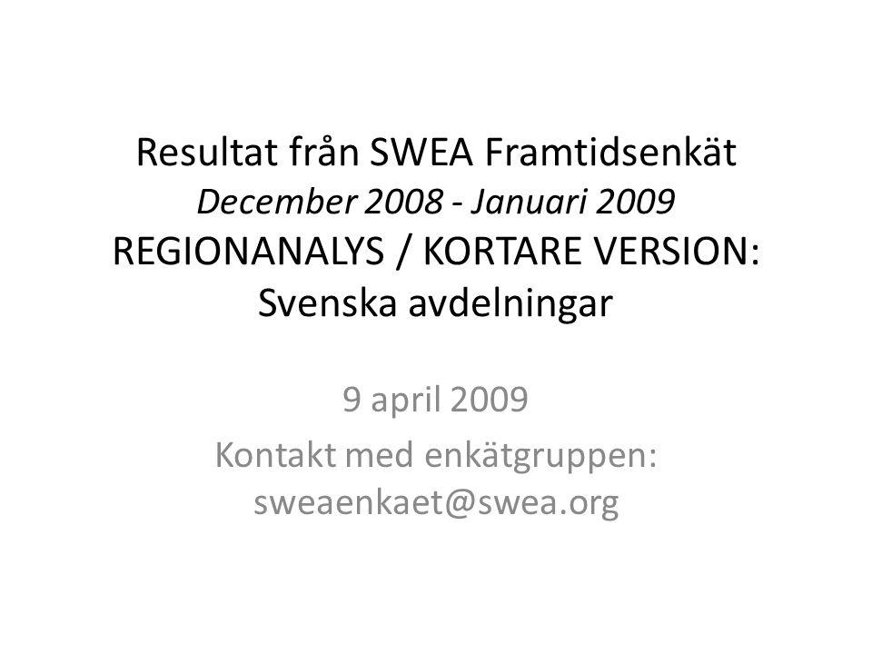 Resultat från SWEA Framtidsenkät December 2008 - Januari 2009 REGIONANALYS / KORTARE VERSION: Svenska avdelningar 9 april 2009 Kontakt med enkätgruppen: sweaenkaet@swea.org
