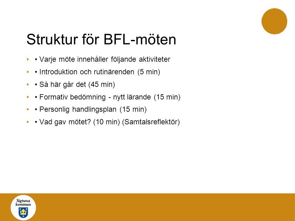 Struktur för BFL-möten Varje möte innehåller följande aktiviteter Introduktion och rutinärenden (5 min) Så här går det (45 min) Formativ bedömning - n