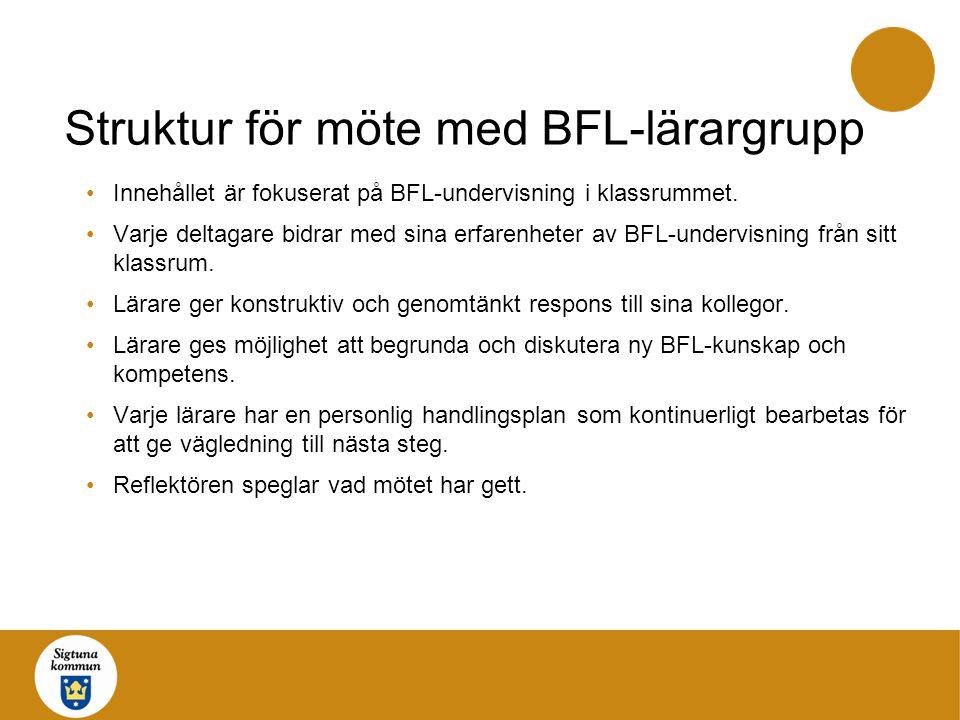 Struktur för möte med BFL-lärargrupp Innehållet är fokuserat på BFL-undervisning i klassrummet. Varje deltagare bidrar med sina erfarenheter av BFL-un
