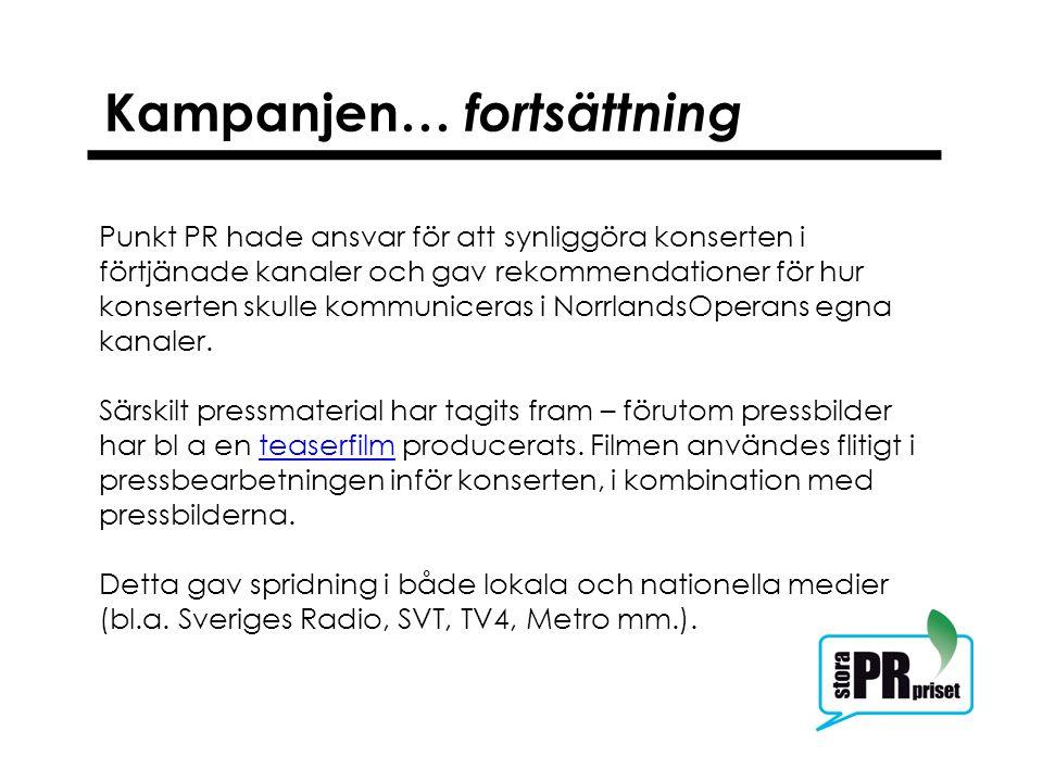 Kampanjen… fortsättning Punkt PR hade ansvar för att synliggöra konserten i förtjänade kanaler och gav rekommendationer för hur konserten skulle kommuniceras i NorrlandsOperans egna kanaler.