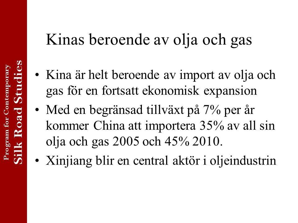 Kinas beroende av olja och gas Kina är helt beroende av import av olja och gas för en fortsatt ekonomisk expansion Med en begränsad tillväxt på 7% per år kommer China att importera 35% av all sin olja och gas 2005 och 45% 2010.